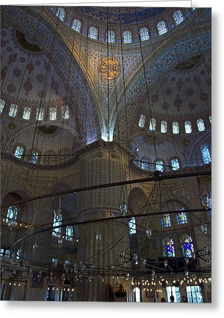 Muslem Greeting Cards - Blue Mosque Interior Greeting Card by Cheri Randolph