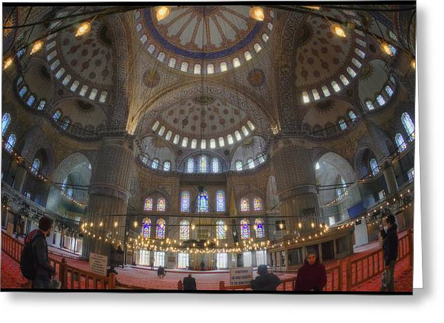 Religion Greeting Cards - Blue Mosque Interior Greeting Card by Joan Carroll