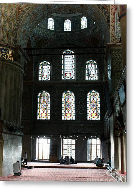 Leda Photography Greeting Cards - Blue Mosque Prayers Greeting Card by Leslie Leda