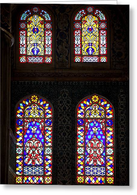 Glasswork Greeting Cards - Blue Mosque Stained Glass Windows Greeting Card by Artur Bogacki