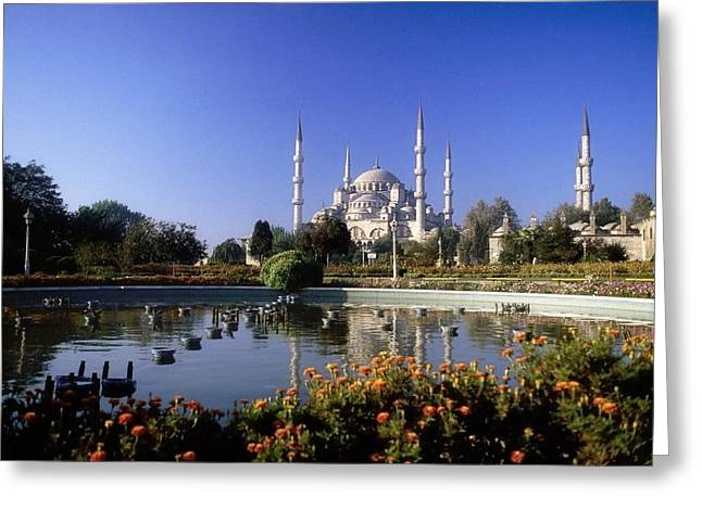 Garden Statuary Greeting Cards - Blue Mosque, Sultanahmet, Istanbul Greeting Card by The Irish Image Collection