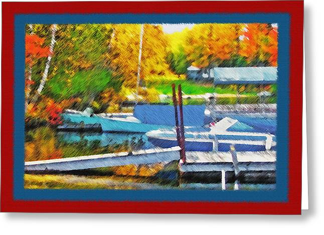 Small Towns Mixed Media Greeting Cards - Blue Mountain Lake - Boat Docks 2 Greeting Card by Steve Ohlsen