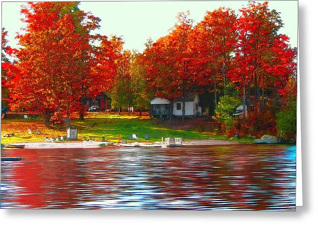 Tree Leaf On Water Digital Art Greeting Cards - Blue Mountain Lake 10 Greeting Card by Steve Ohlsen
