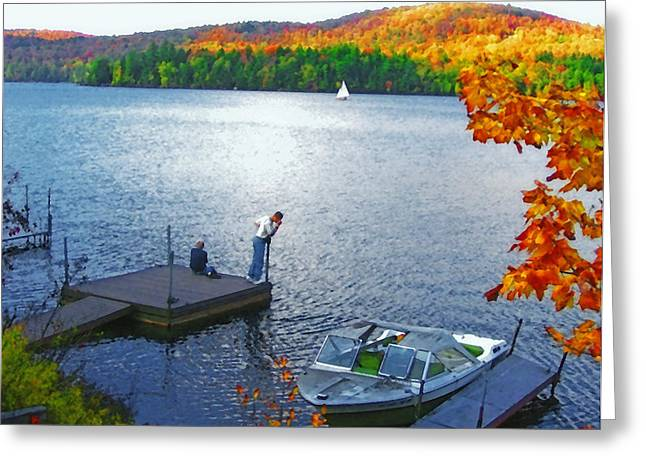 Tree Leaf On Water Digital Art Greeting Cards - Blue Mountain Lake 12 - Tourists on Dock Greeting Card by Steve Ohlsen