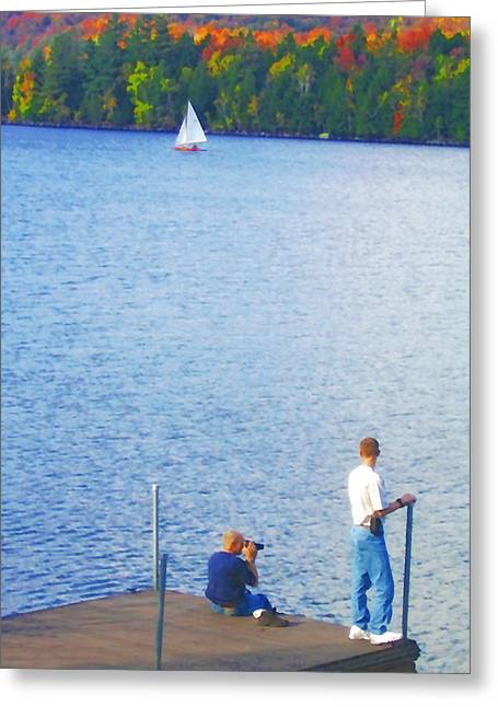 Tree Leaf On Water Digital Art Greeting Cards - Blue Mountain Lake 13 - Tourists on Dock Greeting Card by Steve Ohlsen