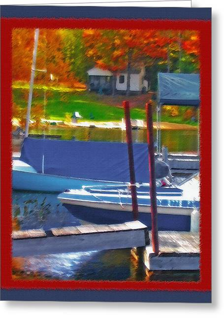 Small Towns Mixed Media Greeting Cards - Blue Mountain Lake 5 - Boat Docks Greeting Card by Steve Ohlsen