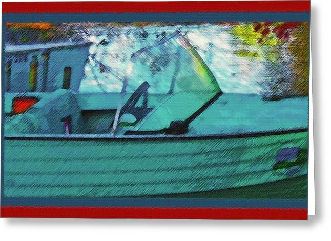 Small Towns Mixed Media Greeting Cards - Blue Mountain Lake 6 - Old Boat Greeting Card by Steve Ohlsen