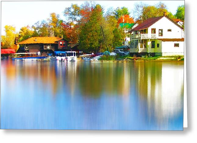 Tree Leaf On Water Digital Art Greeting Cards - Blue Mountain Lake 7 Greeting Card by Steve Ohlsen