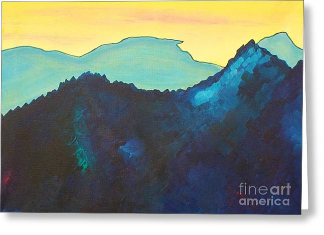 Blue Mountain Greeting Card by Silvie Kendall