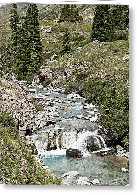 Best Seller Greeting Cards - Blue Mountain Stream Greeting Card by Melany Sarafis