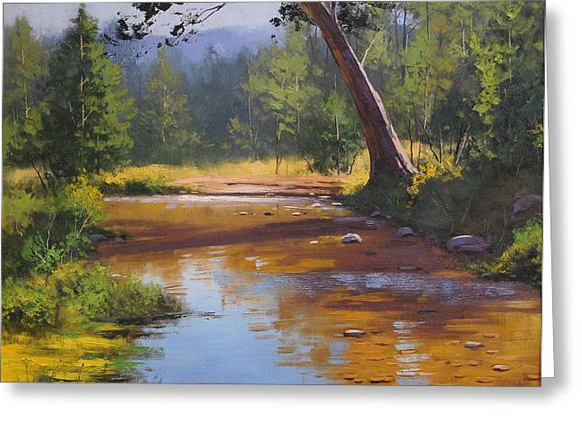 Brook Paintings Greeting Cards - Blue Mountains Coxs River Greeting Card by Graham Gercken