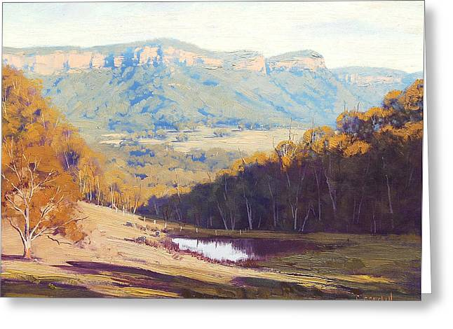 Mountain Valley Paintings Greeting Cards - Blue Mountains paintings Greeting Card by Graham Gercken
