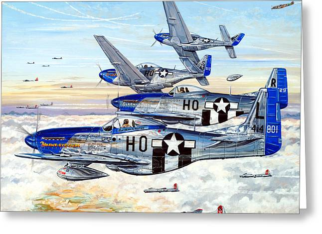Flying Planes Greeting Cards - Blue Nosed Bastards of Bodney Greeting Card by Charles Taylor