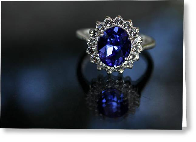 Blue On Bling Greeting Card by Theresa Johnson