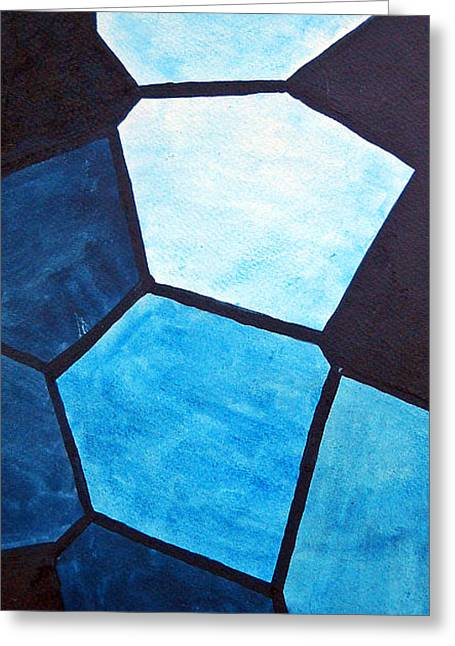 Stainglass Greeting Cards - Blue on Blue Greeting Card by Duwayne Washington