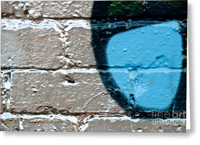 Aerosol Paintings Greeting Cards - Blue on Silver Graffiti Greeting Card by Yurix Sardinelly