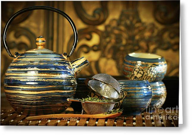Zen-like Greeting Cards - Blue oriental teapot with cups  Greeting Card by Sandra Cunningham