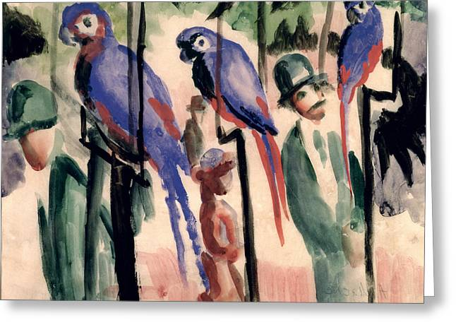 Aviary Greeting Cards - Blue Parrots Greeting Card by August Macke