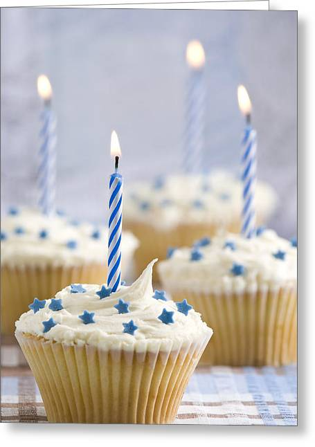 Special Occasion Greeting Cards - Blue Party Cupcakes Greeting Card by Amanda And Christopher Elwell
