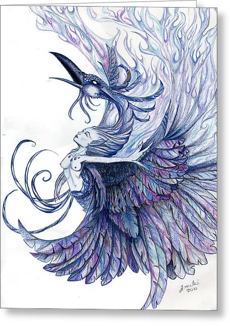 Wiccan Art Greeting Cards - Blue Phoenix Greeting Card by Lorelei  Marie