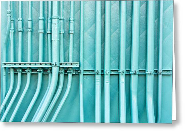 Manufacturing Greeting Cards - Blue pipes Greeting Card by Tom Gowanlock