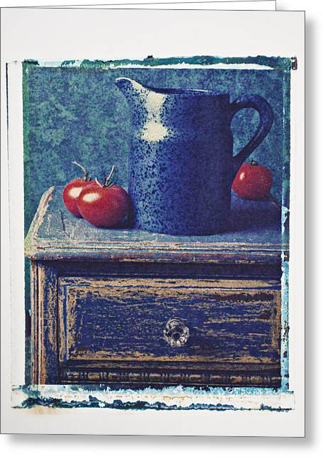 Transfer Greeting Cards - Blue pitcher Greeting Card by Garry Gay
