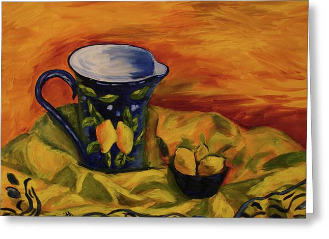 Blue Pitcher with Lemons Greeting Card by Phyllis  Smith