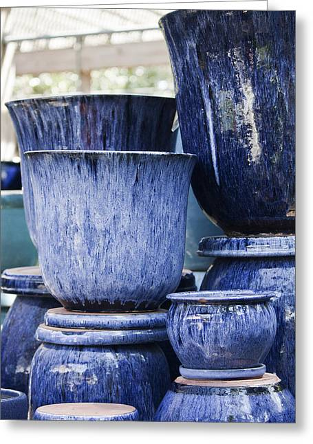 Ceramic Glazes Greeting Cards - Blue Pots for Sale Greeting Card by Teresa Mucha