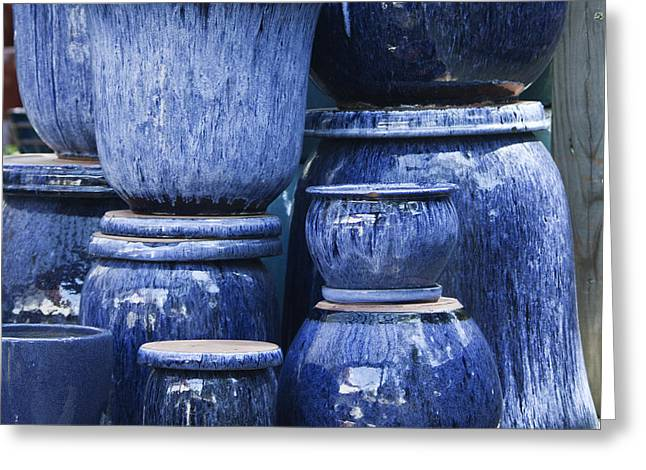 Ceramic Glazes Greeting Cards - Blue Pots Squared Greeting Card by Teresa Mucha
