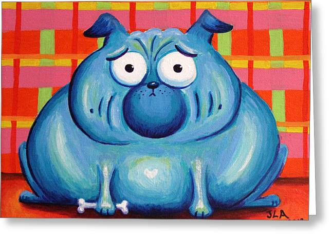 Blue Pudgy Pug Greeting Card by Jennifer Alvarez