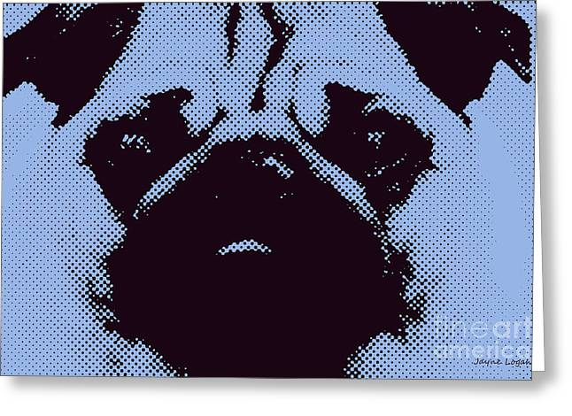 Pug Framed Prints Greeting Cards - Blue Pug Greeting Card by Jayne Logan Intveld