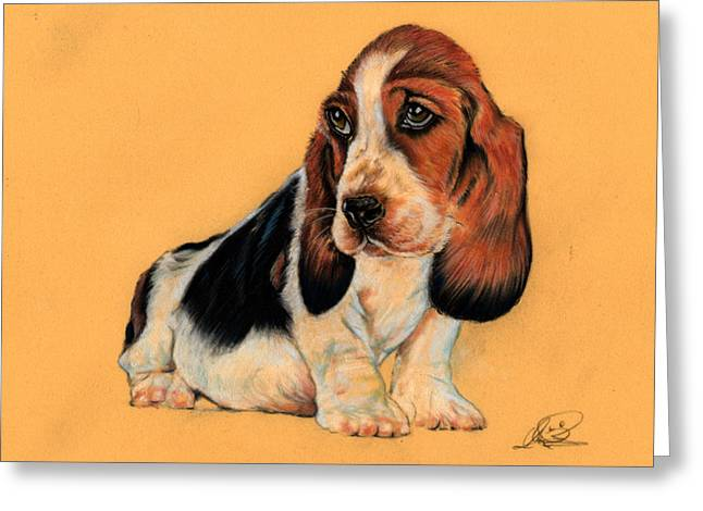 Blue Puppy Dog Greeting Card by Ole Hedeager Mejlvang