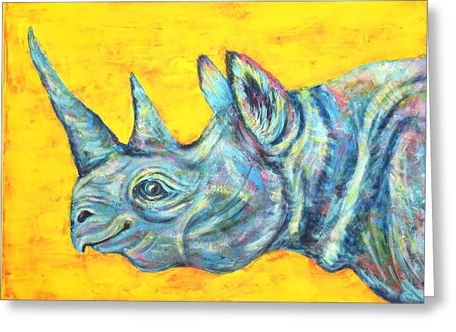 Rhinoceros Paintings Greeting Cards - Blue Rhinoceros Greeting Card by Suzan  Sommers