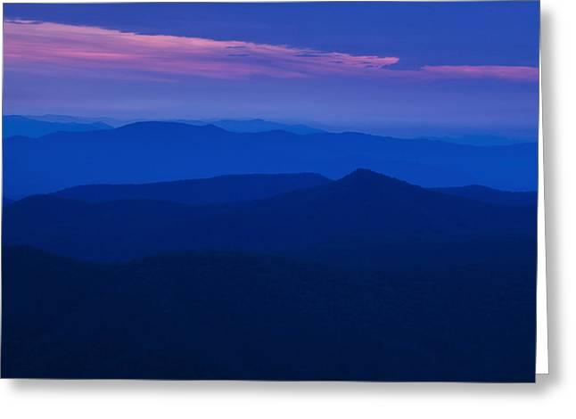 Receding Greeting Cards - Blue Ridge at Dusk Greeting Card by Andrew Soundarajan