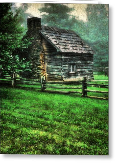 Cabin Window Greeting Cards - Blue Ridge Cabin Greeting Card by Darren Fisher