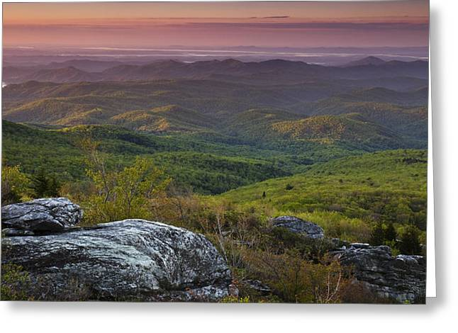 Colorful Photos Greeting Cards - Blue Ridge Dawn Panorama Greeting Card by Andrew Soundarajan