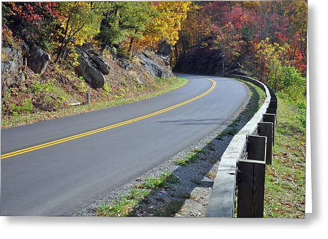 Blue Ridge Parkway In Fall Greeting Cards - Blue Ridge Parkway Autumn Road Greeting Card by Bruce Gourley