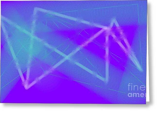 Transparency Geometric Greeting Cards - Blue Greeting Card by Rosana Ortiz