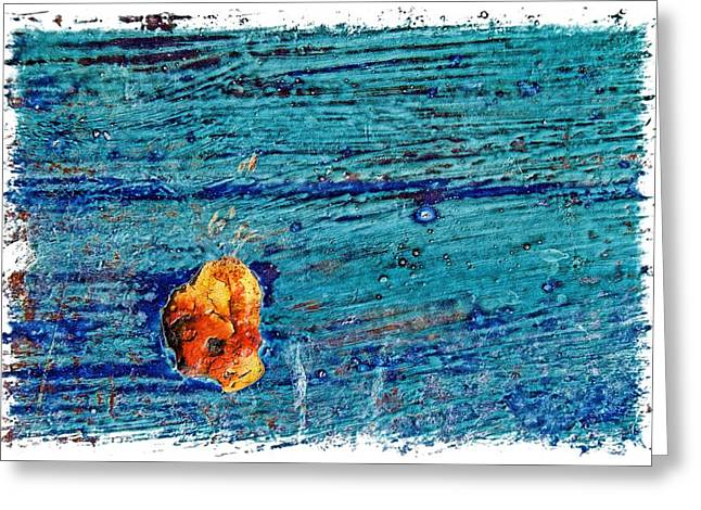 Blue Rusted Steel Painted Background Greeting Card by Rudy Umans