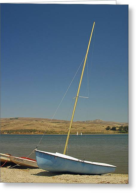 Blue Sailboat Photographs Greeting Cards - Blue Sailboat II Greeting Card by Suzanne Gaff