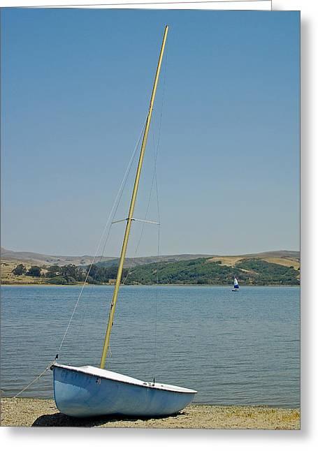 Blue Sailboats Photographs Greeting Cards - Blue Sailboat Greeting Card by Suzanne Gaff