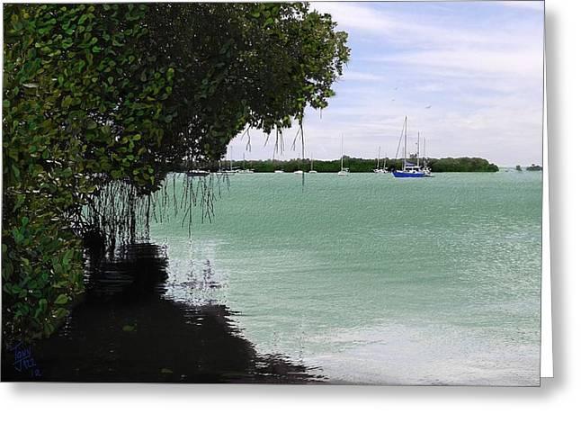 Blue Sailboat Greeting Card by Tony Rodriguez