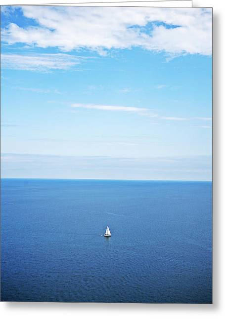 Sturgeon Bay Greeting Cards - Blue Sailboat Greeting Card by Ty Helbach