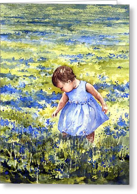 Blue Bonnet Greeting Cards - Blue Greeting Card by Sam Sidders