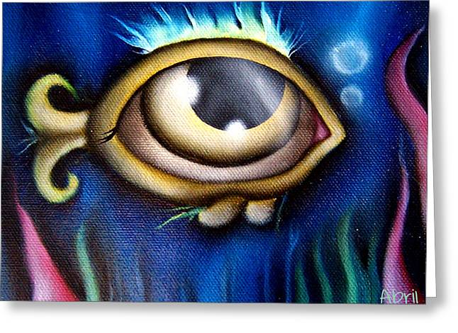 Gold Fish Paintings Greeting Cards - Blue Sea Greeting Card by  Abril Andrade Griffith