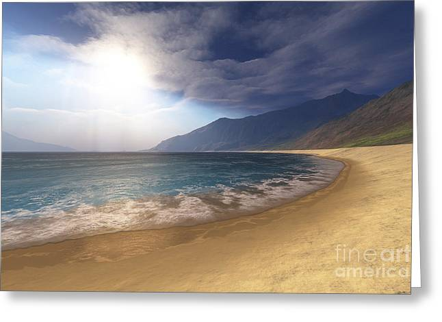 Island .oasis Greeting Cards - Blue Seas And Radient Sun Shine In This Greeting Card by Corey Ford