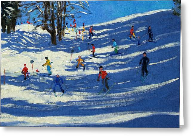 Downhill Skiing Greeting Cards - Blue shadows Greeting Card by Andrew Macara