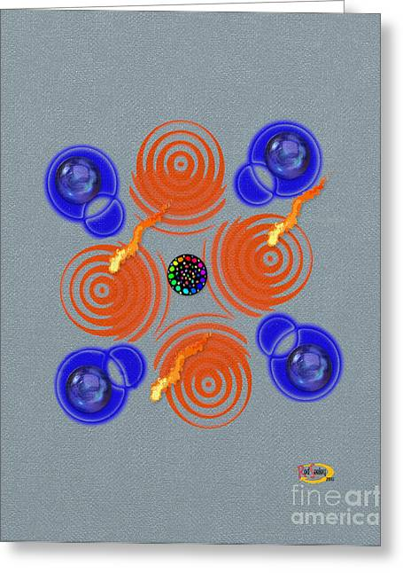 Abstract Digital Mixed Media Greeting Cards - Blue Shining Balls Greeting Card by Rod Seeley