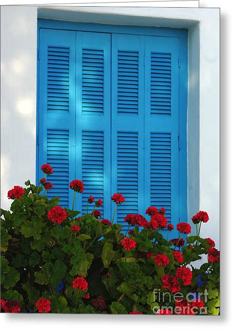 Blue Shutters Greeting Cards - Blue Shutters and Red Flowers Greeting Card by Bob Christopher