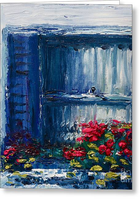 Red Geraniums Greeting Cards - Blue Shutters Greeting Card by Yvonne Ayoub